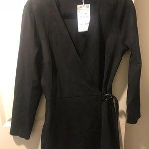 Zara black suede long sleeve romper